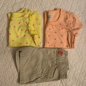 2 Outfits {Lot of 2 shirts & 1 pair of shorts}
